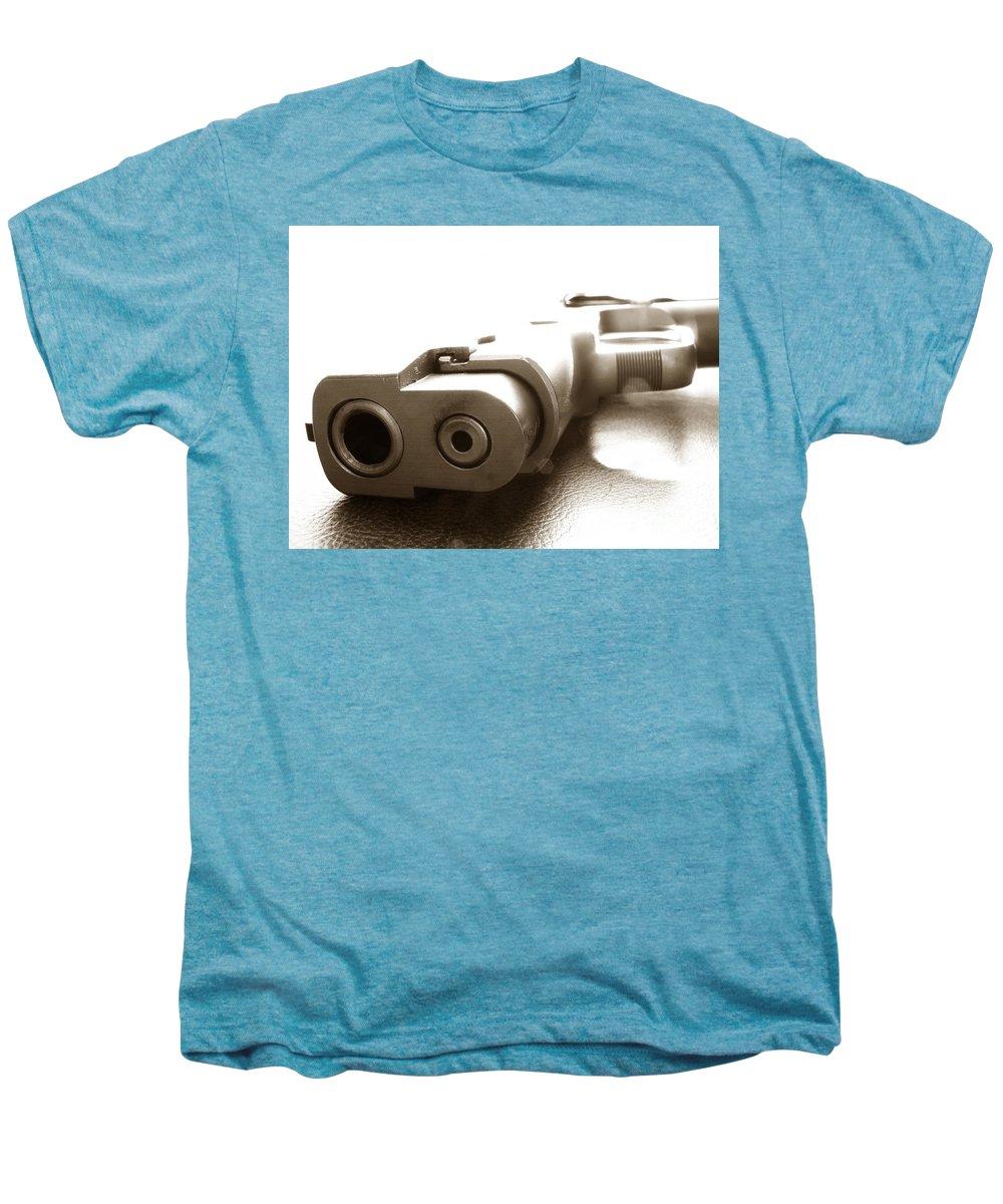 Gun Men's Premium T-Shirt featuring the photograph Why by Amanda Barcon