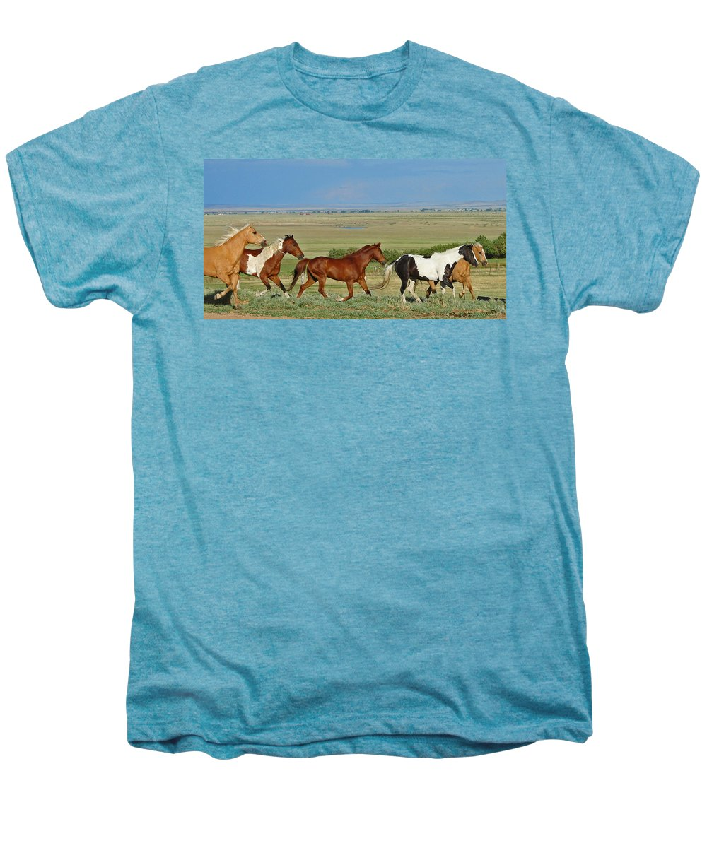 Herd Men's Premium T-Shirt featuring the photograph Wild Horses Wyoming by Heather Coen