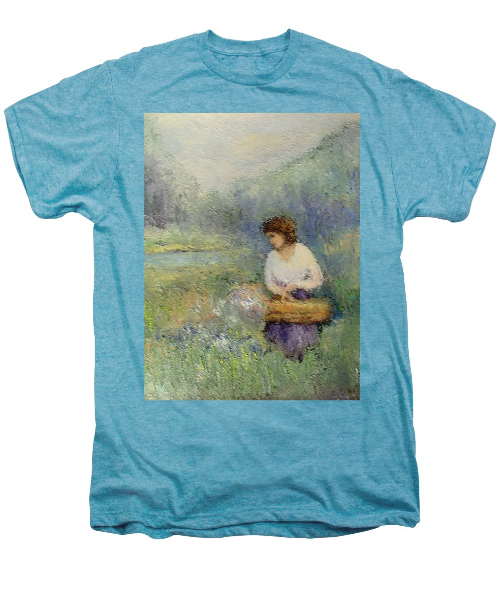 Woman Men's Premium T-Shirt featuring the painting Wildflowers by Gail Kirtz