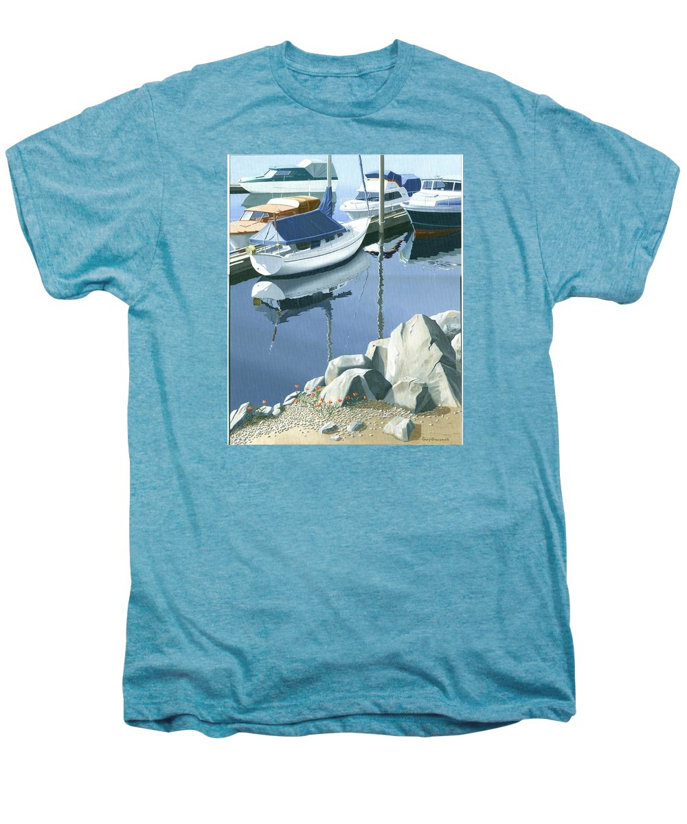 Sailboat Men's Premium T-Shirt featuring the painting Wildflowers On The Breakwater by Gary Giacomelli