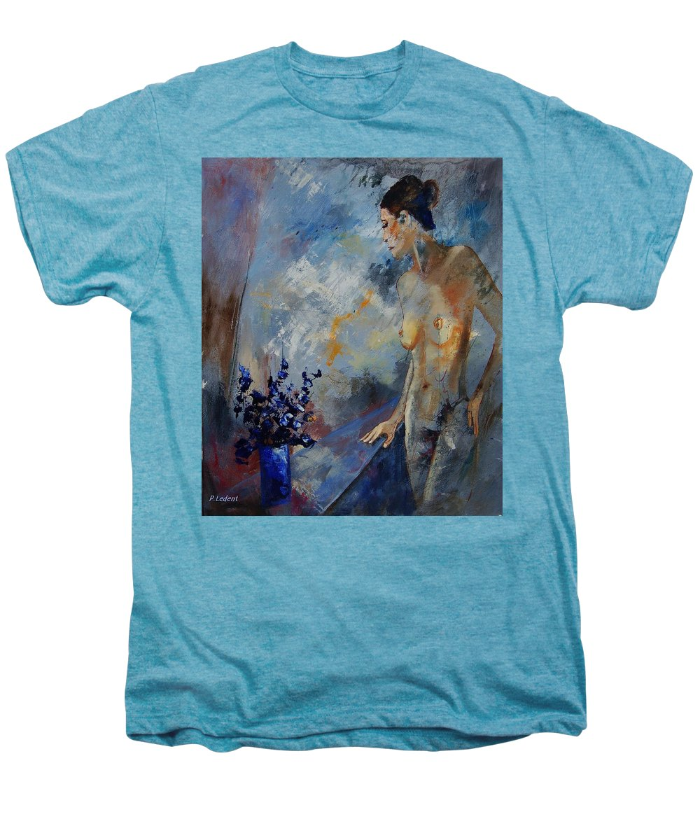 Girl Men's Premium T-Shirt featuring the painting Will He Be Coming by Pol Ledent