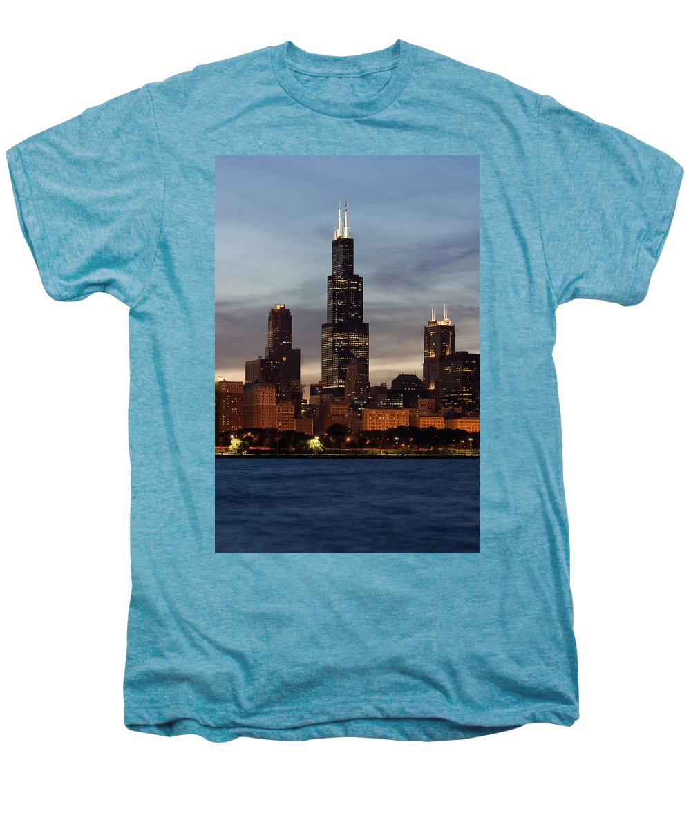 3scape Photos Men's Premium T-Shirt featuring the photograph Willis Tower At Dusk Aka Sears Tower by Adam Romanowicz