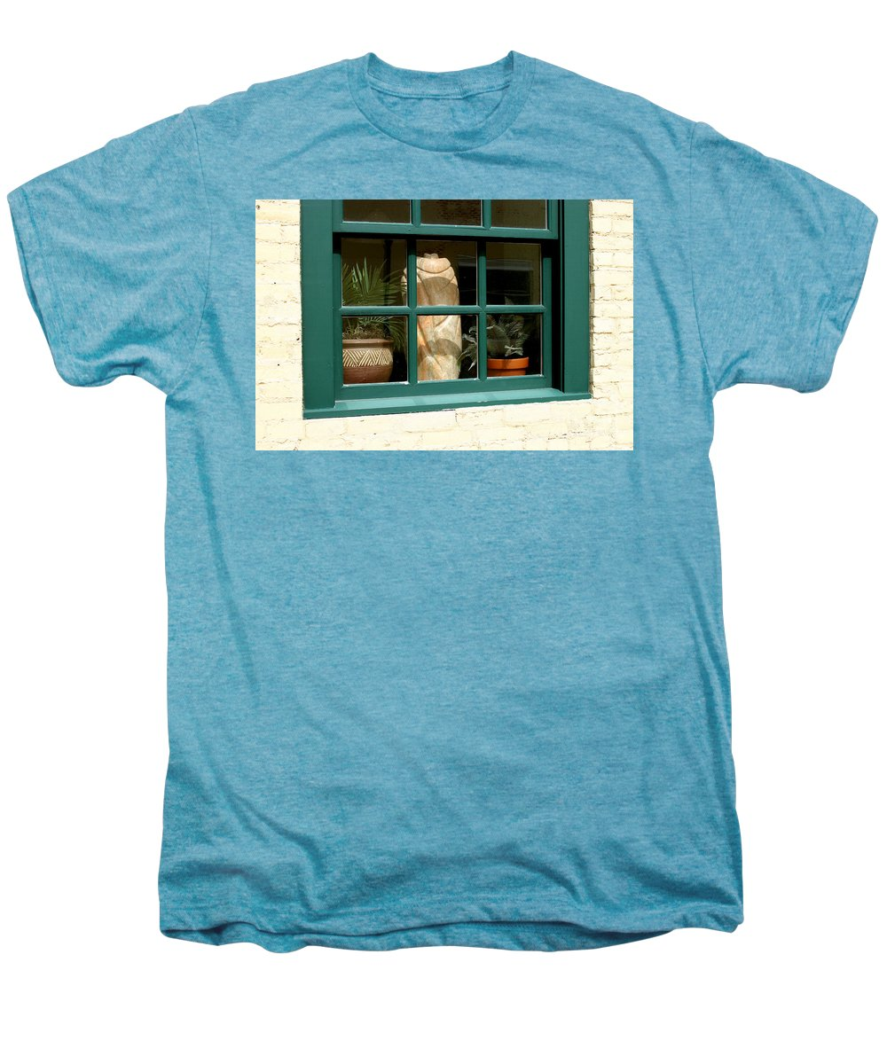 Fern Men's Premium T-Shirt featuring the photograph Window At Sanders Resturant by Steve Augustin
