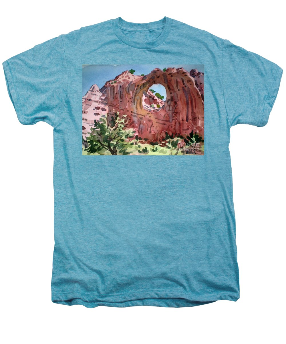 Navajo Tribal Park Men's Premium T-Shirt featuring the painting Window Rock by Donald Maier