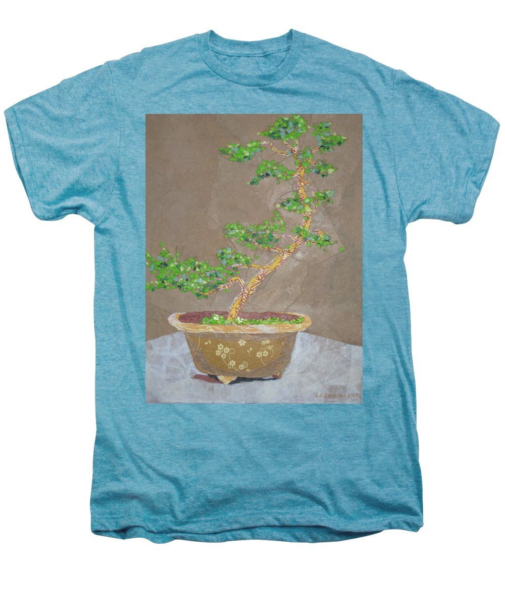 Banzai Tree Men's Premium T-Shirt featuring the painting Windswept Juniper by Leah Tomaino