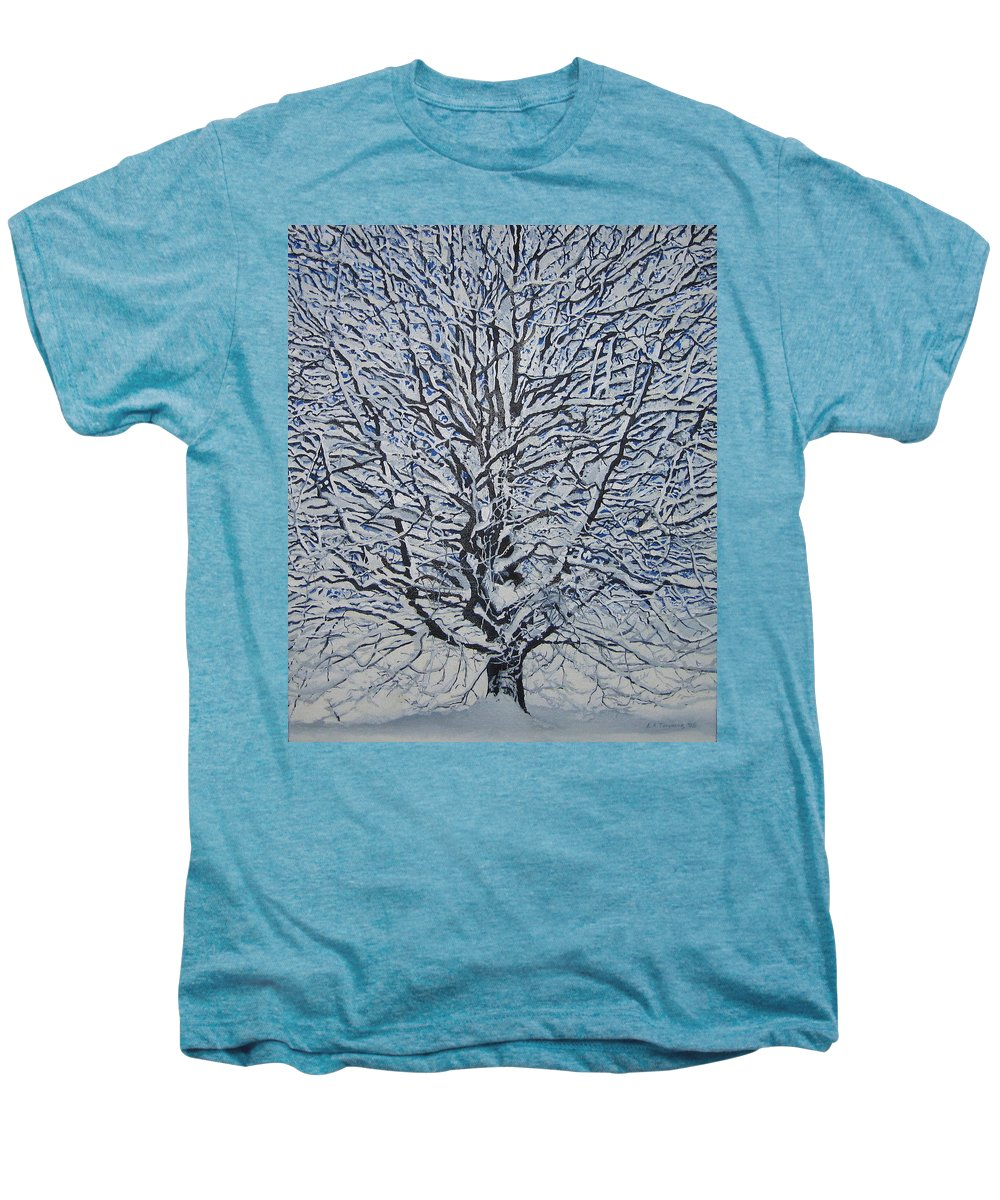 Winter Men's Premium T-Shirt featuring the painting Winter '05 by Leah Tomaino