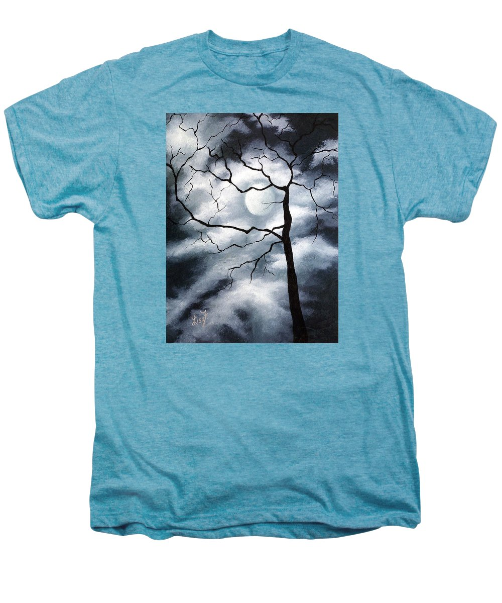 Winter Men's Premium T-Shirt featuring the painting Winter Evening by Elizabeth Lisy Figueroa