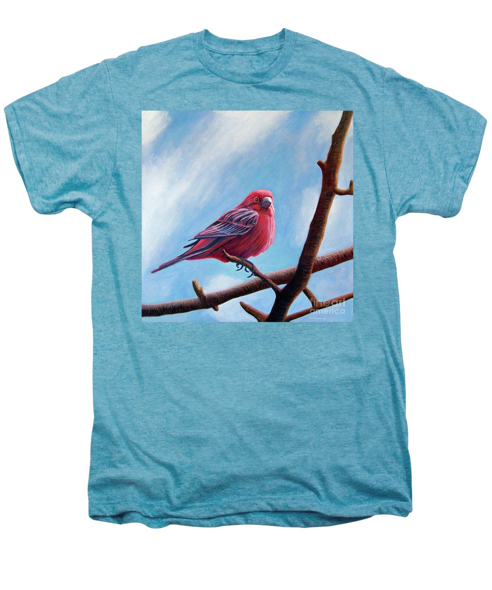 Bird Men's Premium T-Shirt featuring the painting Winter Finch by Brian Commerford
