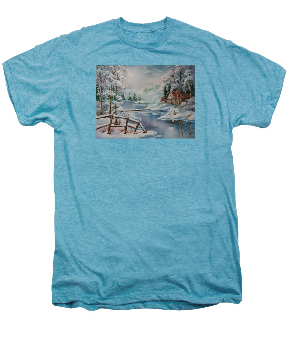 Winter Scapes Men's Premium T-Shirt featuring the painting Winter In The Valley by Irene Clarke