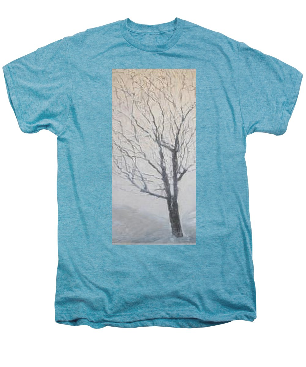 Tree Men's Premium T-Shirt featuring the painting Winter by Leah Tomaino