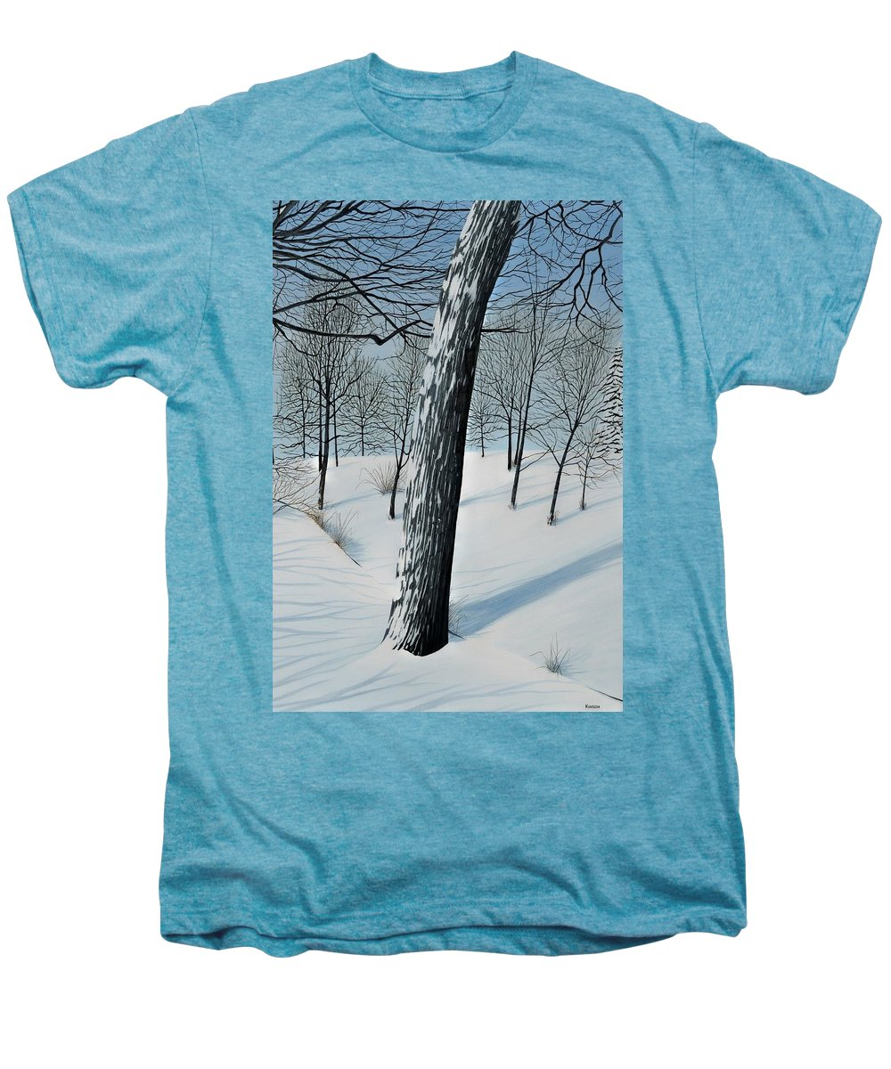 Landscape Men's Premium T-Shirt featuring the painting Winter Maple by Kenneth M Kirsch