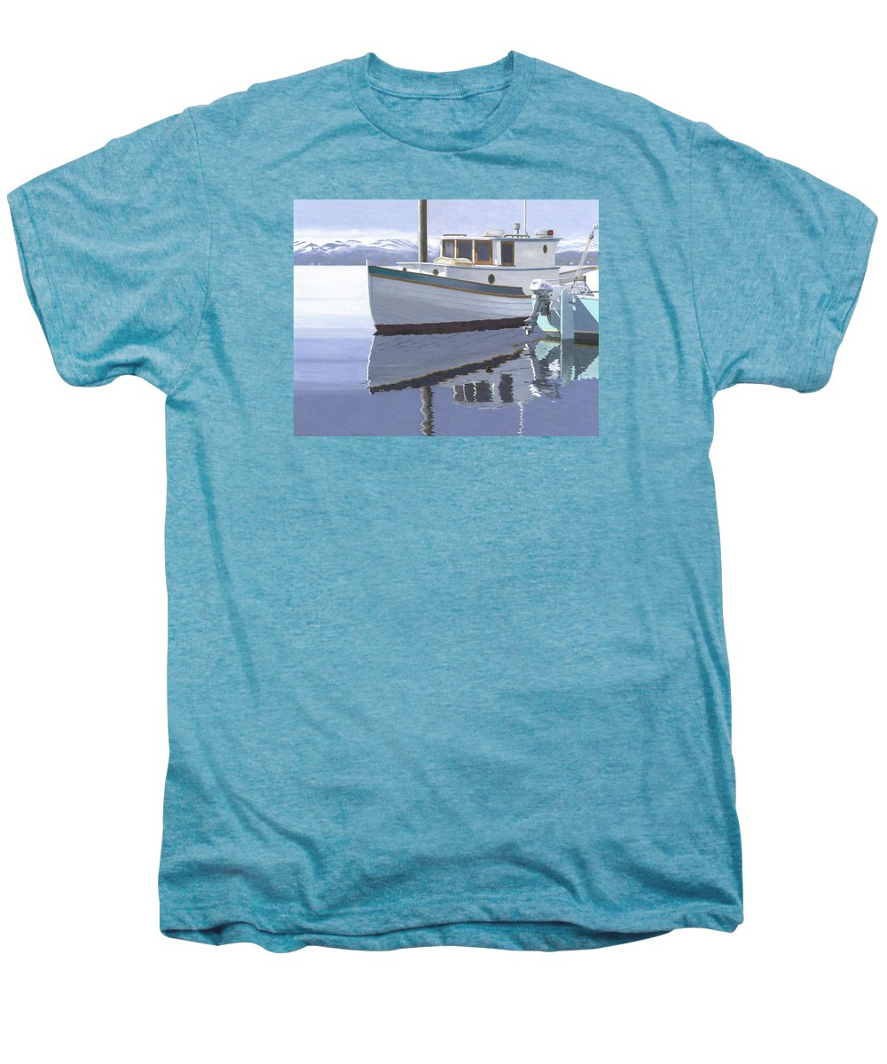 Marine Men's Premium T-Shirt featuring the painting Winter Moorage by Gary Giacomelli