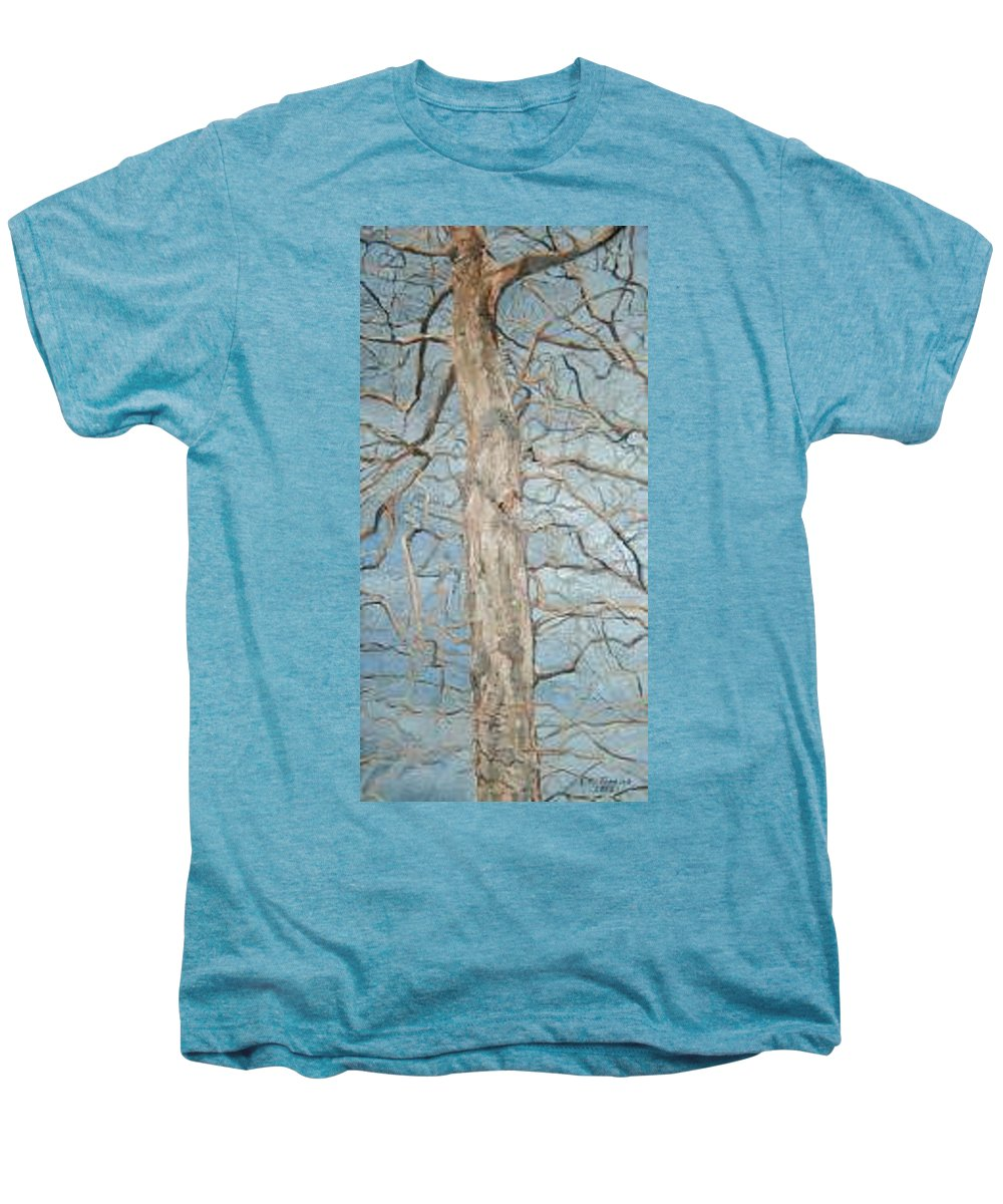 Tree Men's Premium T-Shirt featuring the painting Winter Morning by Leah Tomaino
