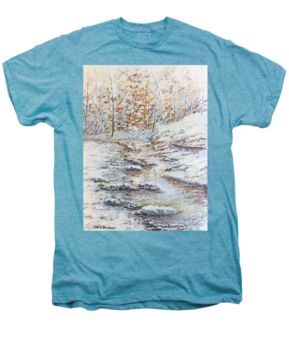 Landscape Men's Premium T-Shirt featuring the painting Winter River by Todd Blanchard