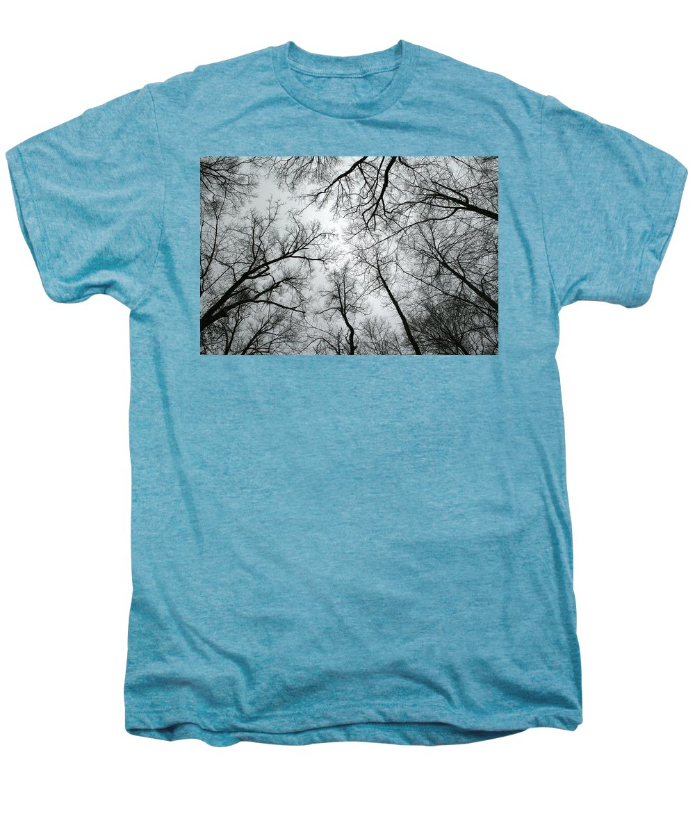 Winter Sky Tree Trees Grey Gloomy Peaceful Quite Calm Peace Cloudy Overcast Dark Men's Premium T-Shirt featuring the photograph Winter Sky by Andrei Shliakhau