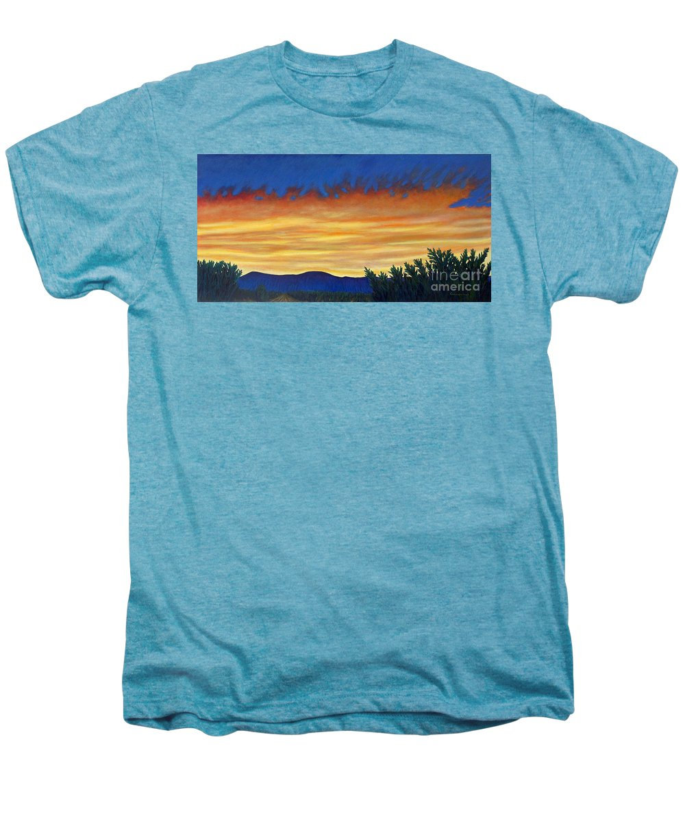 Sunset Men's Premium T-Shirt featuring the painting Winter Sunset In El Dorado by Brian Commerford