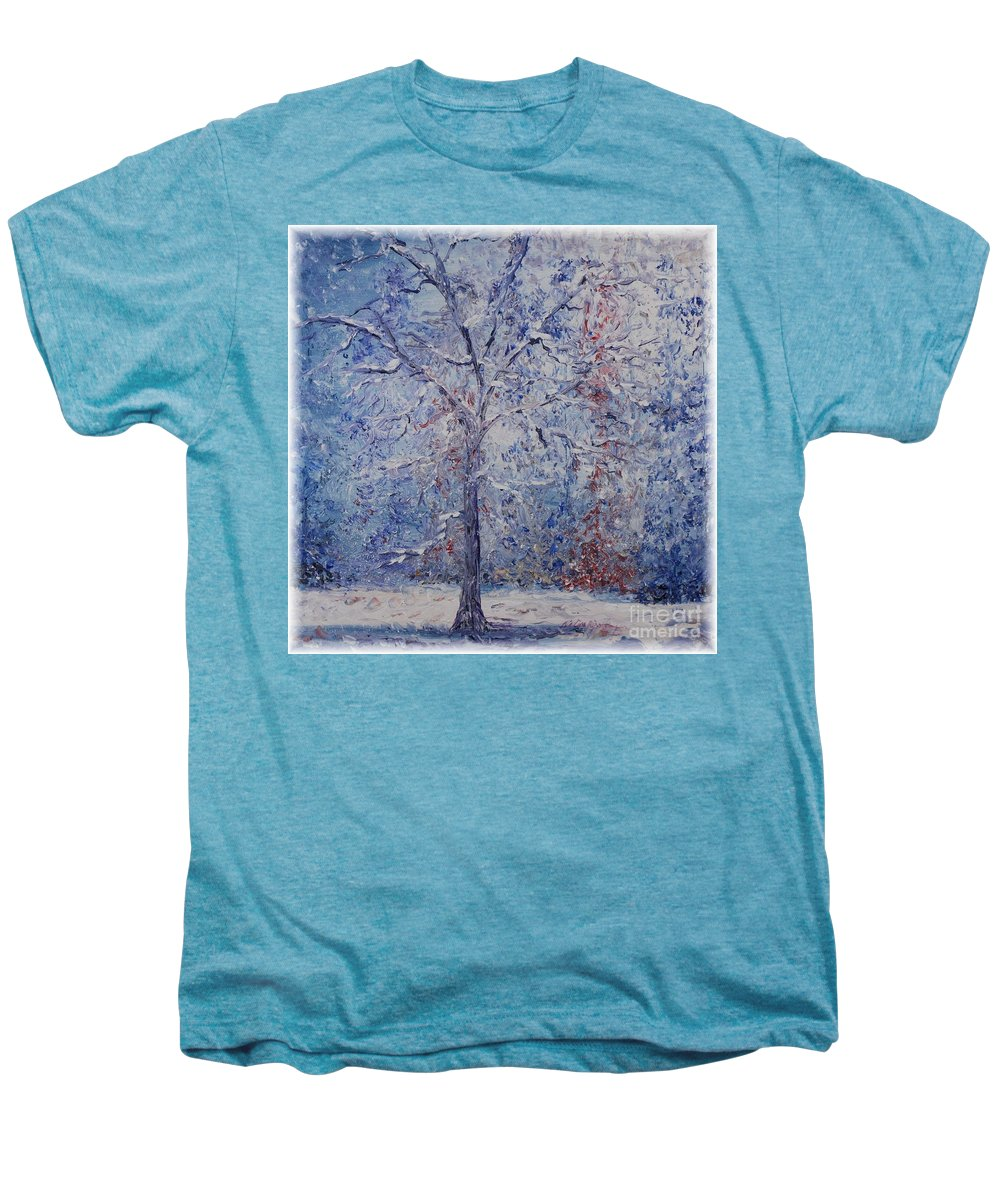 Winter Men's Premium T-Shirt featuring the painting Winter Trees by Nadine Rippelmeyer