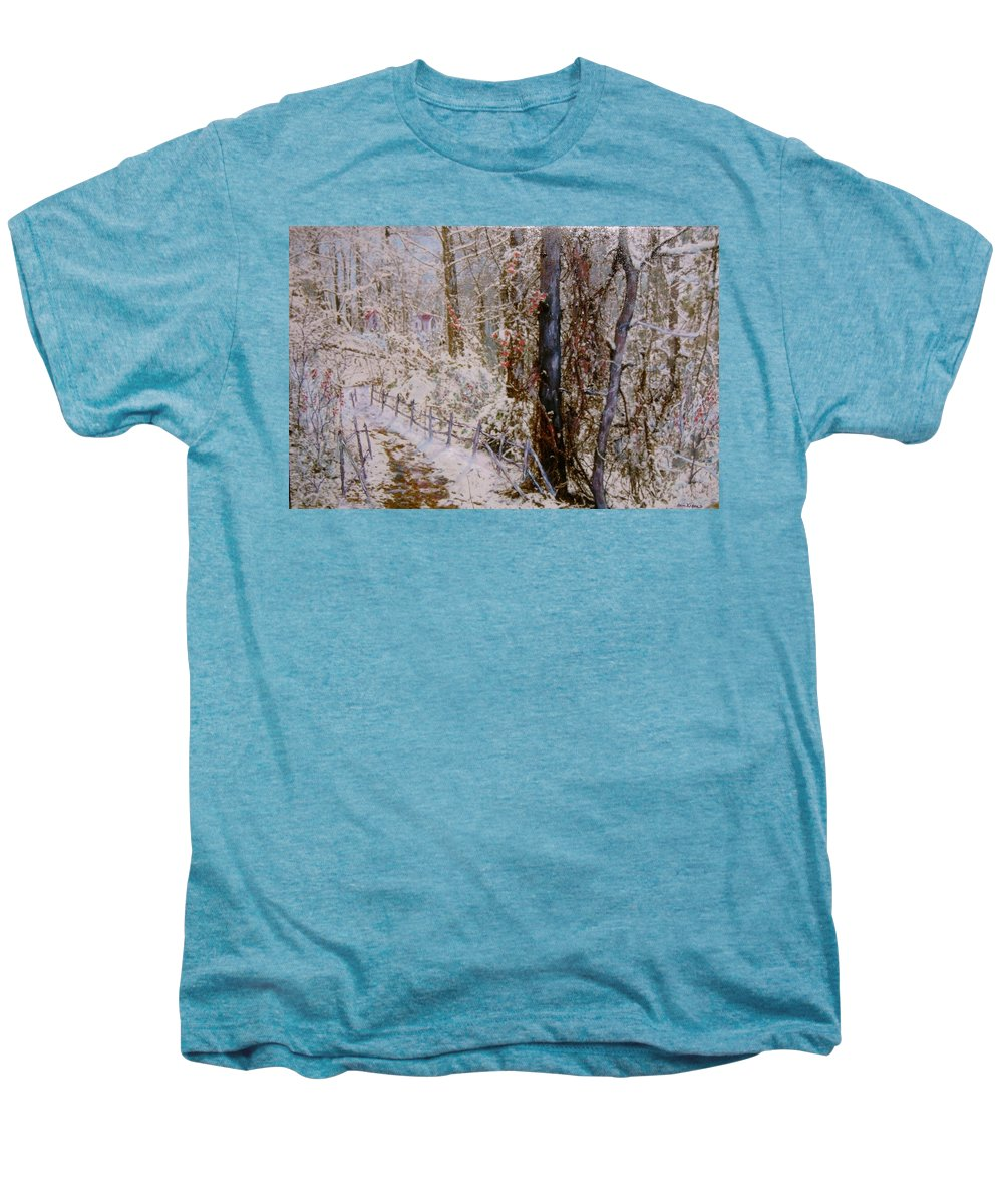 Snow; Trees Men's Premium T-Shirt featuring the painting Winter Wonderland by Ben Kiger