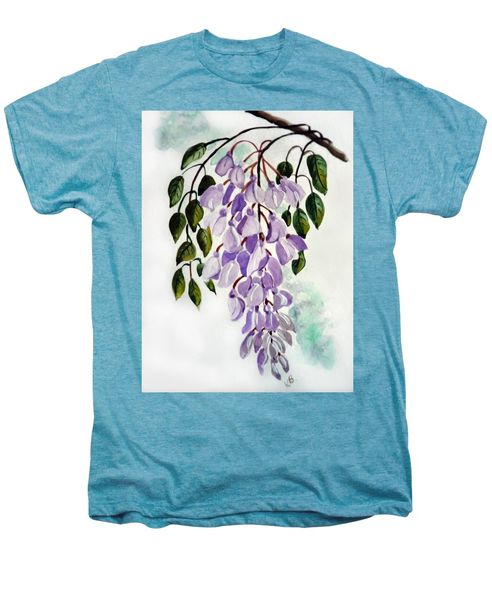 Floral Paintings Flower Paintings Wisteria Paintings Botanical Paintings Flower Purple Paintings Greeting Card Paintings  Men's Premium T-Shirt featuring the painting Wisteria by Karin Dawn Kelshall- Best