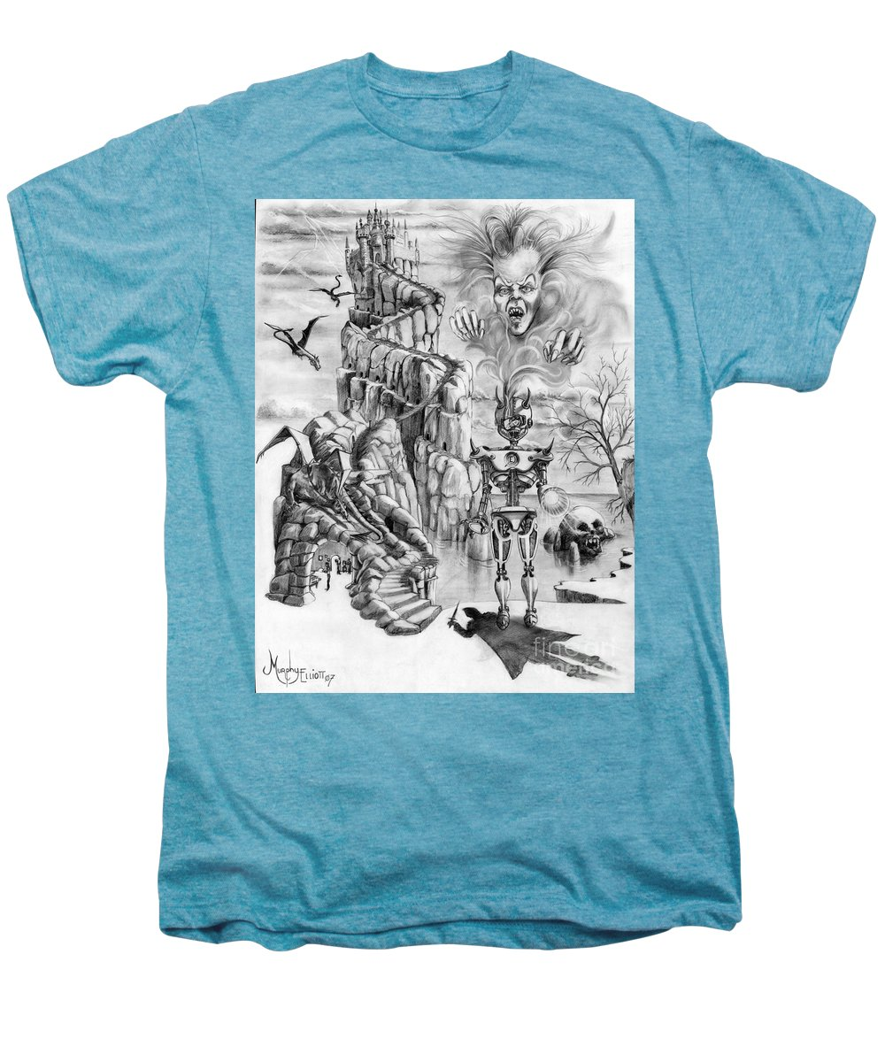 Witch Men's Premium T-Shirt featuring the drawing Witch Hunter by Murphy Elliott