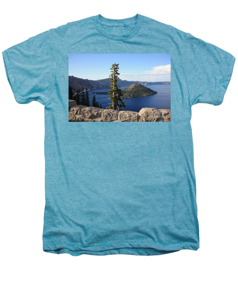Wizard Island Men's Premium T-Shirt featuring the photograph Wizard Island With Rock Fence At Crater Lake by Carol Groenen