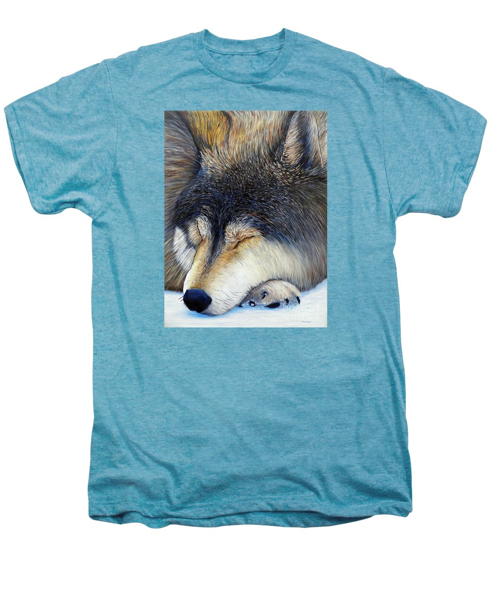 Wolf Men's Premium T-Shirt featuring the painting Wolf Dreams by Brian Commerford