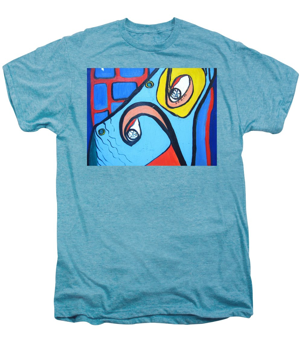 Woman Paintings Men's Premium T-Shirt featuring the painting Woman13 by Seon-Jeong Kim