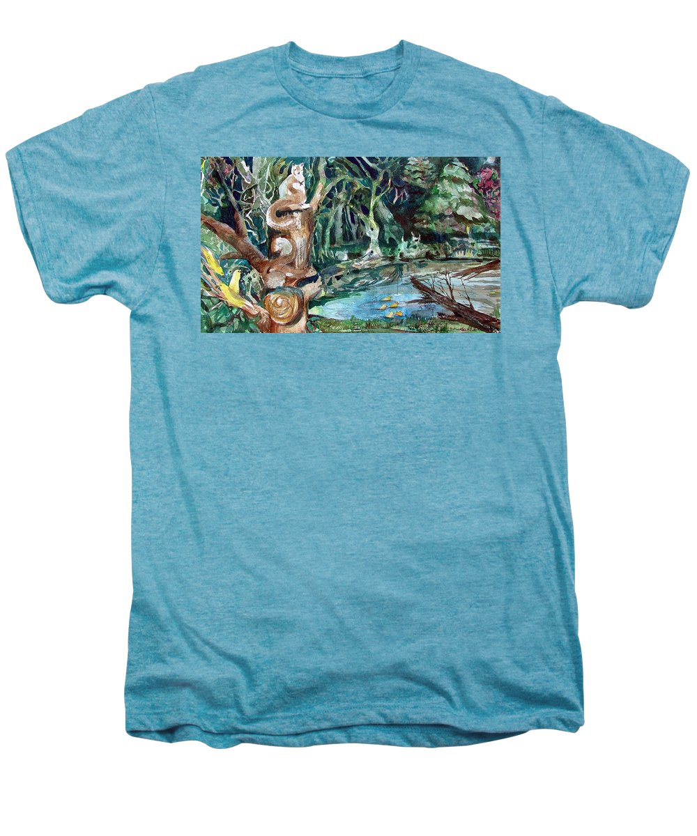 Squirrels Men's Premium T-Shirt featuring the painting Woodland Critters by Mindy Newman