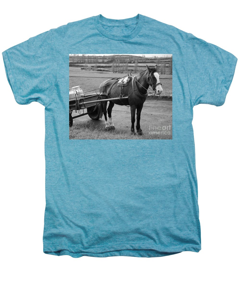 Cart Men's Premium T-Shirt featuring the photograph Work Horse And Cart by Gaspar Avila