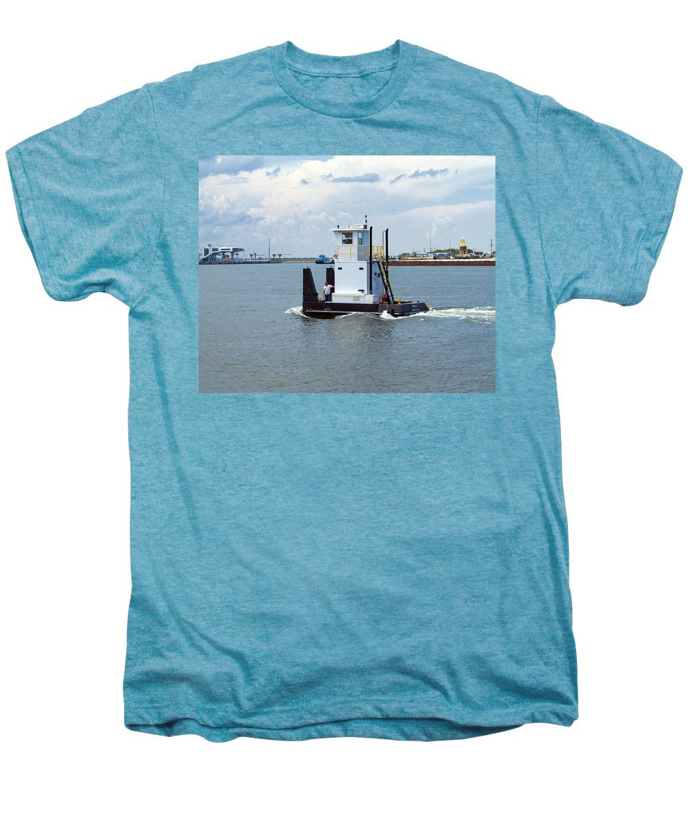 Florida; Tug; Tugboat; Boat; Work; Workboat; Pusher; Push; Barge; Barges; Working; Float; Floating; Men's Premium T-Shirt featuring the photograph Workboat At Port Canaveral In Florida by Allan Hughes