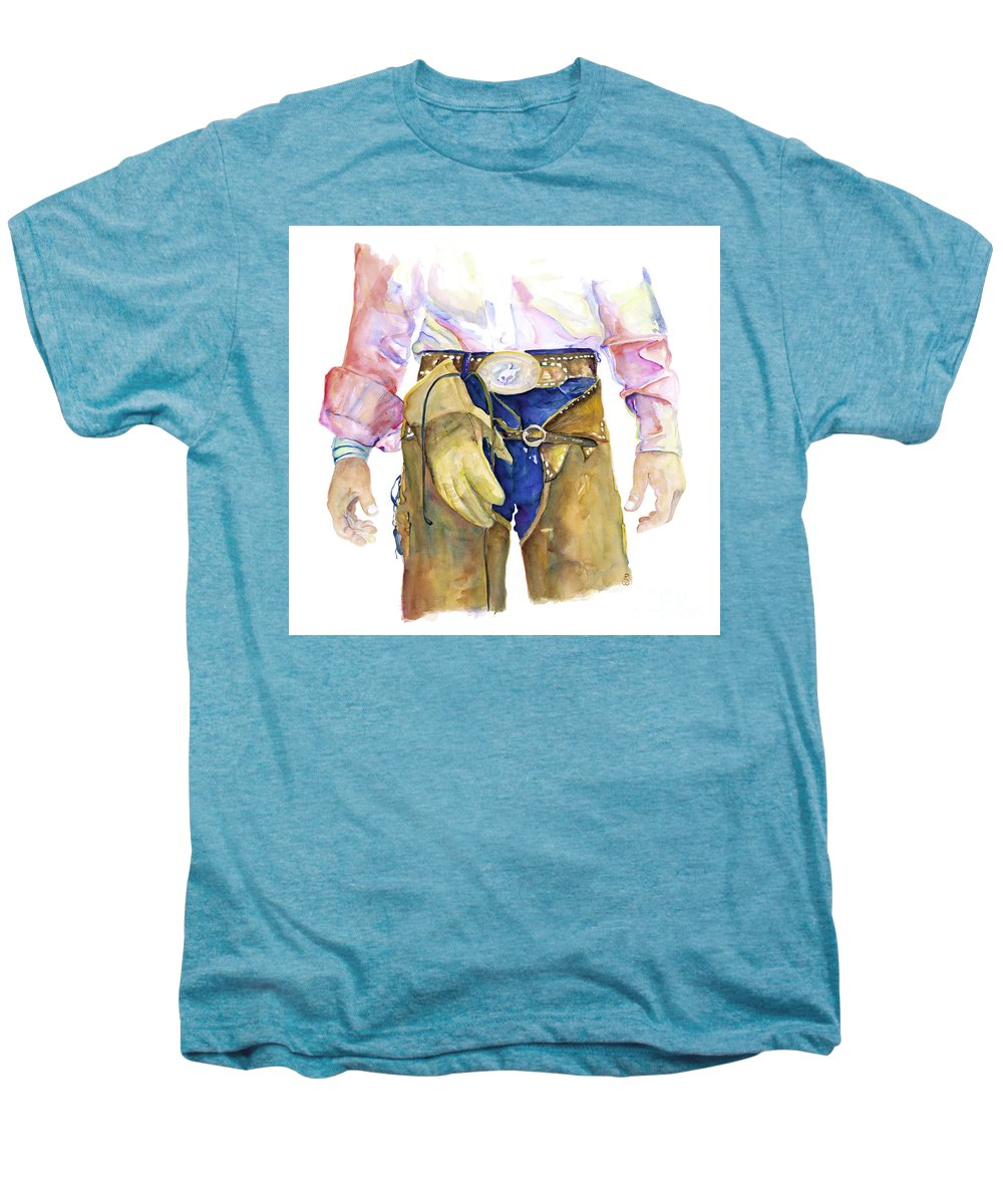 Cowboy Painting Men's Premium T-Shirt featuring the painting Wrangler by Pat Saunders-White