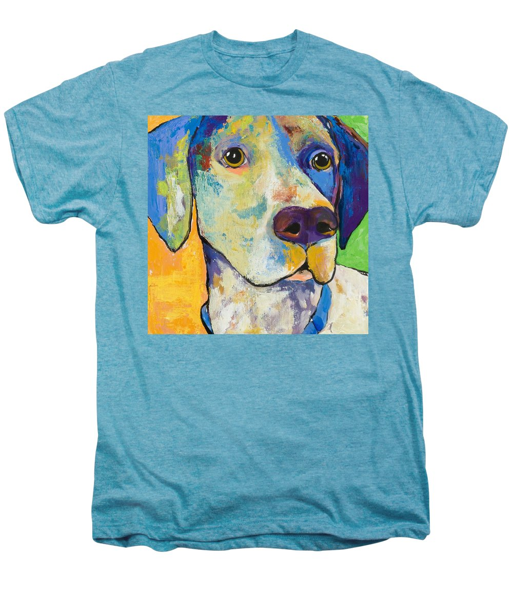 German Shorthair Animalsdog Blue Yellow Acrylic Canvas Men's Premium T-Shirt featuring the painting Yancy by Pat Saunders-White