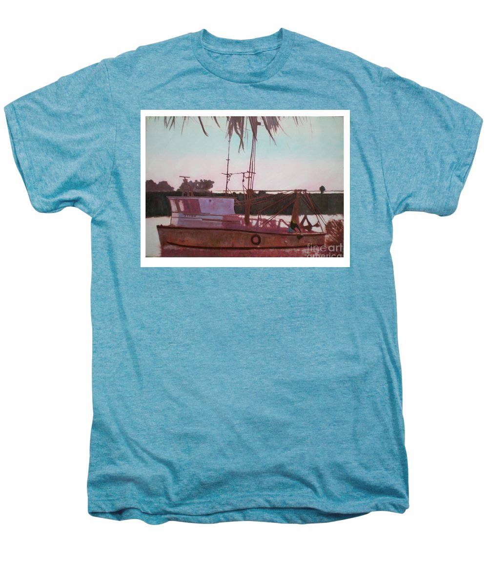 Seascape Men's Premium T-Shirt featuring the digital art Yankee Town Fishing Boat by Hal Newhouser