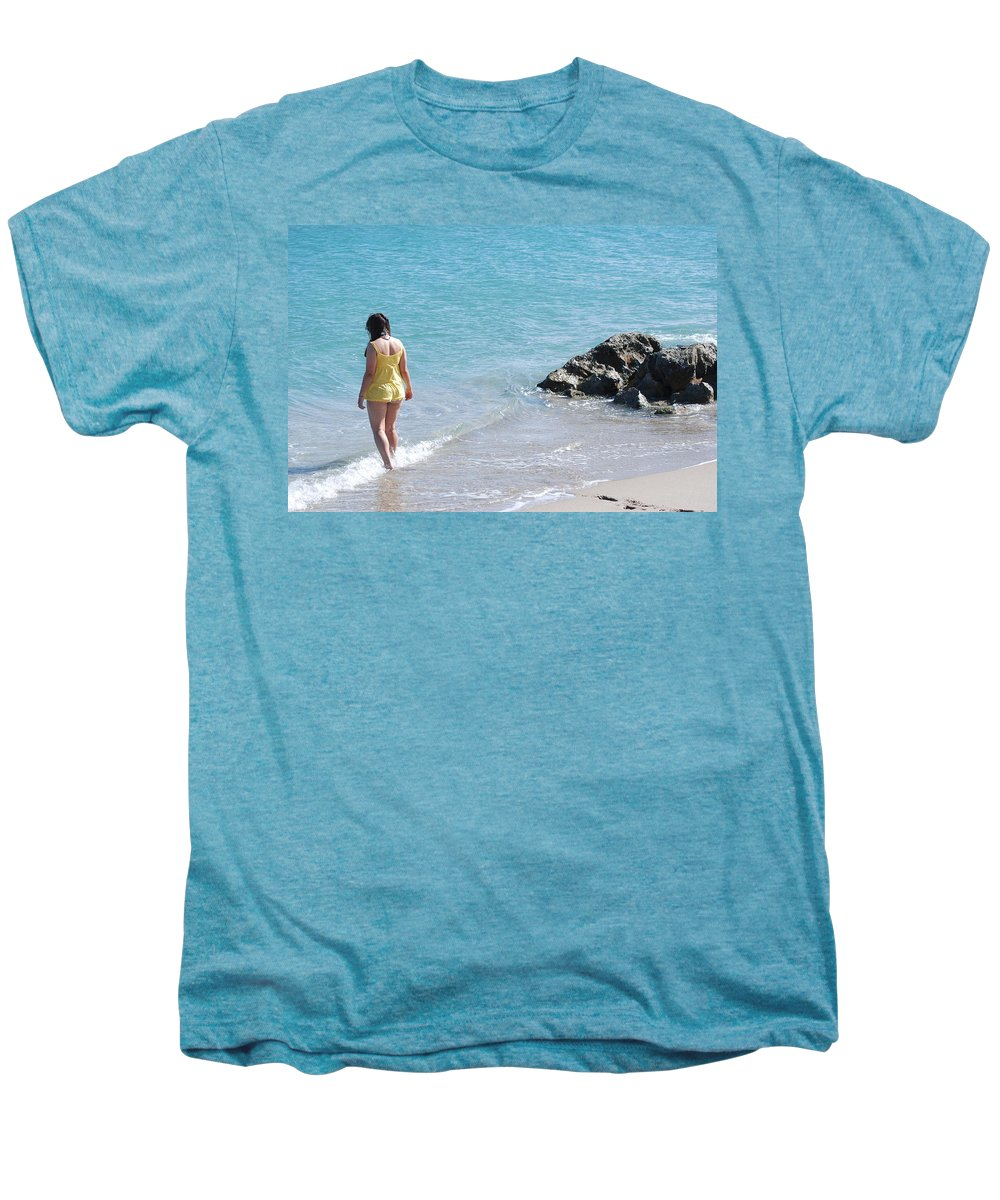 Sea Scape Men's Premium T-Shirt featuring the photograph Yellow And Blue by Rob Hans