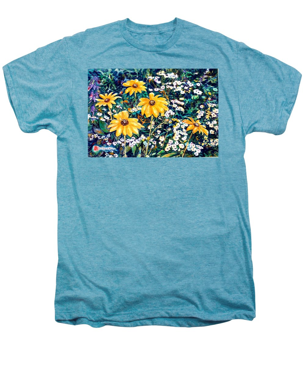 Daisies Men's Premium T-Shirt featuring the painting Yellow Daisies by Norma Boeckler