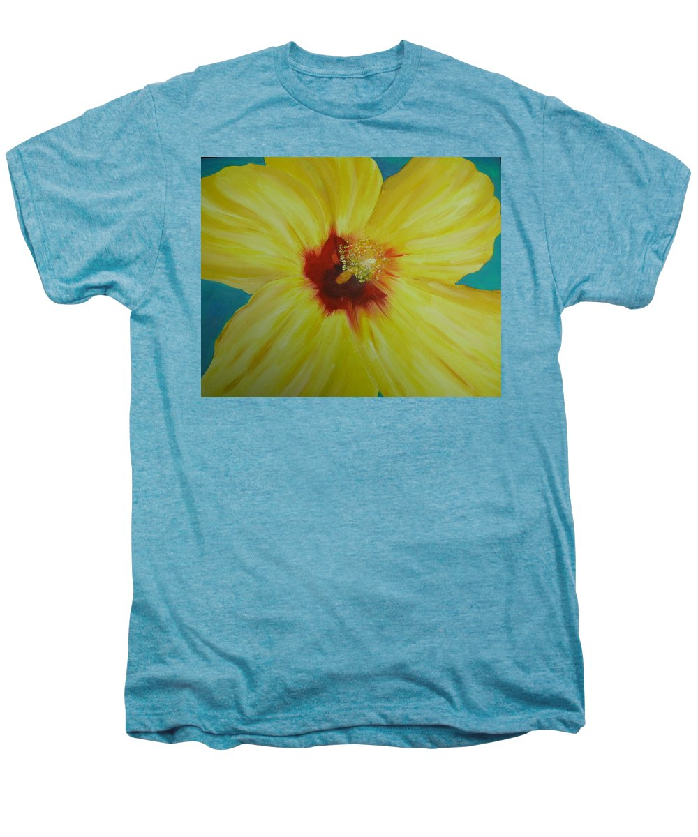 Flower Men's Premium T-Shirt featuring the print Yellow Hibiscus by Melinda Etzold
