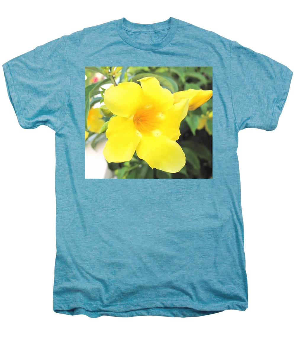 Yellow Men's Premium T-Shirt featuring the photograph Yellow Hibiscus St Kitts by Ian MacDonald