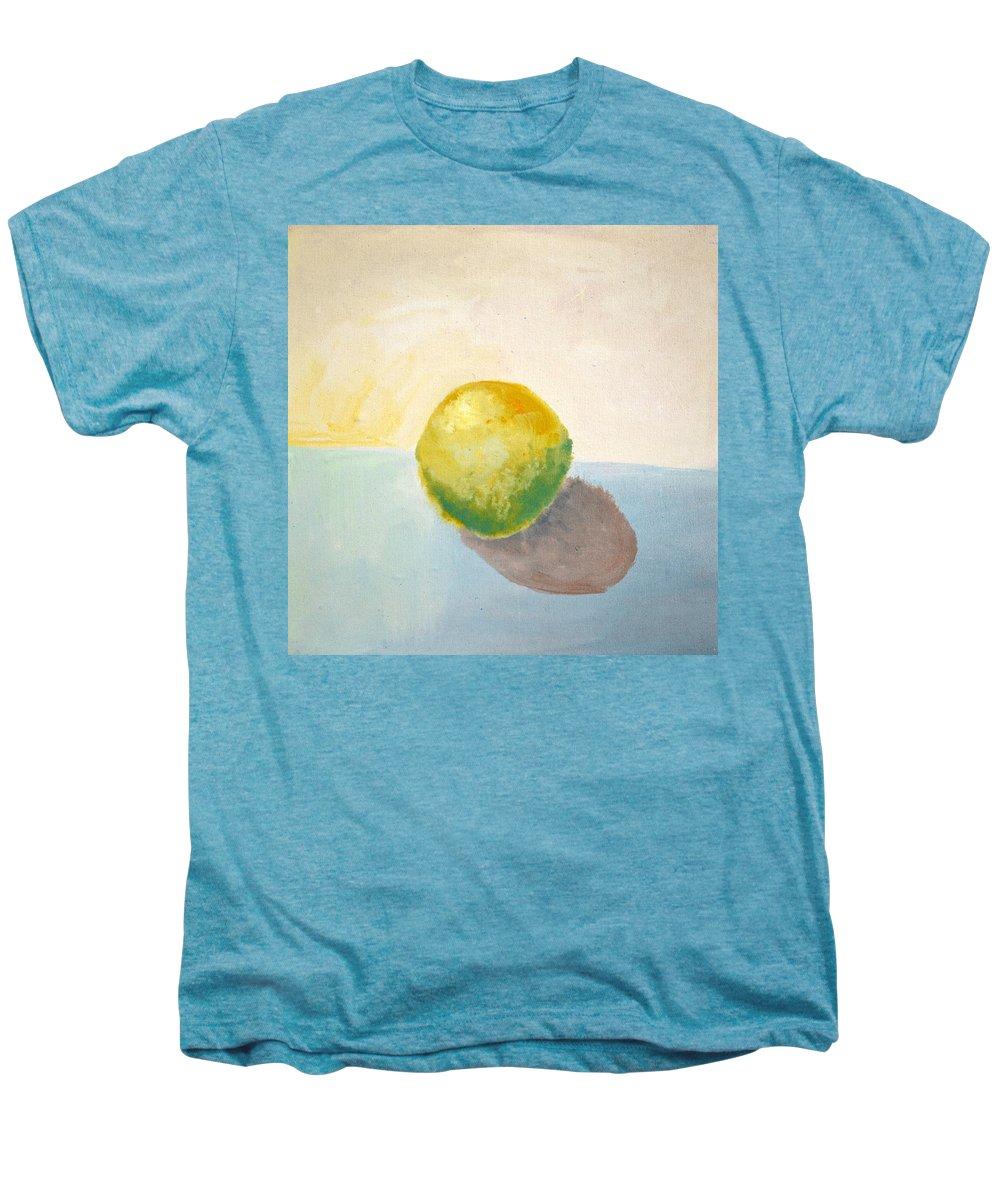 Lemon Men's Premium T-Shirt featuring the painting Yellow Lemon Still Life by Michelle Calkins