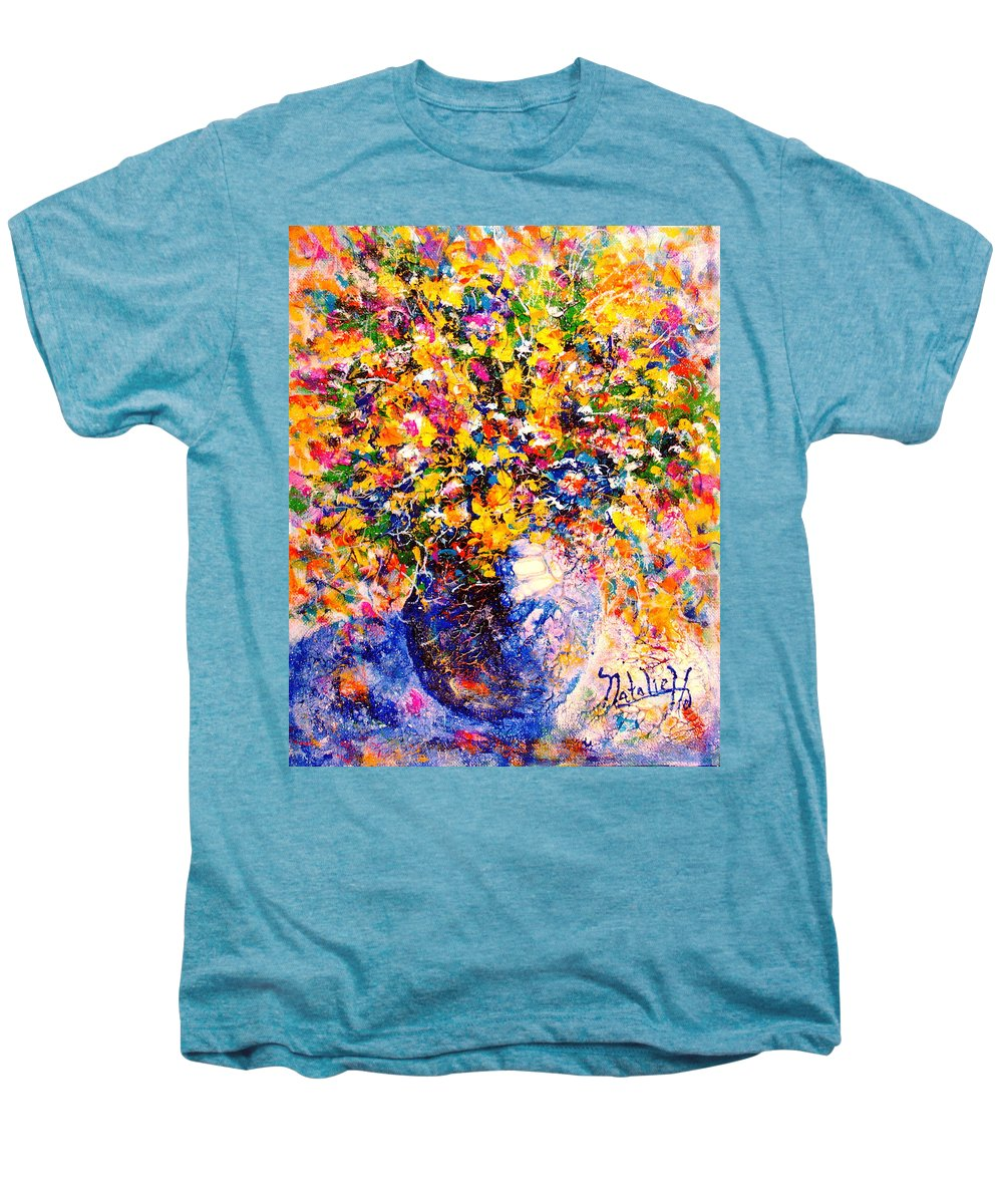 Flowers Men's Premium T-Shirt featuring the painting Yellow Sunshine by Natalie Holland
