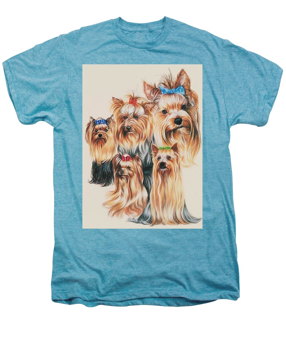 Dog Men's Premium T-Shirt featuring the drawing Yorkshire Terrier by Barbara Keith