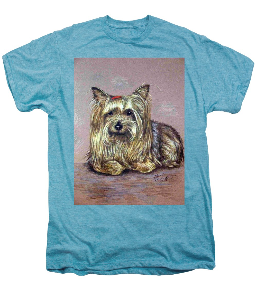 Dog Men's Premium T-Shirt featuring the drawing Yorkshire Terrier by Nicole Zeug