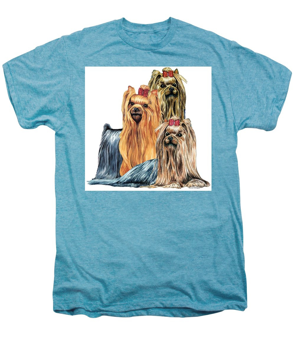 Yorkshire Terrier Men's Premium T-Shirt featuring the drawing Yorkshire Terriers by Kathleen Sepulveda