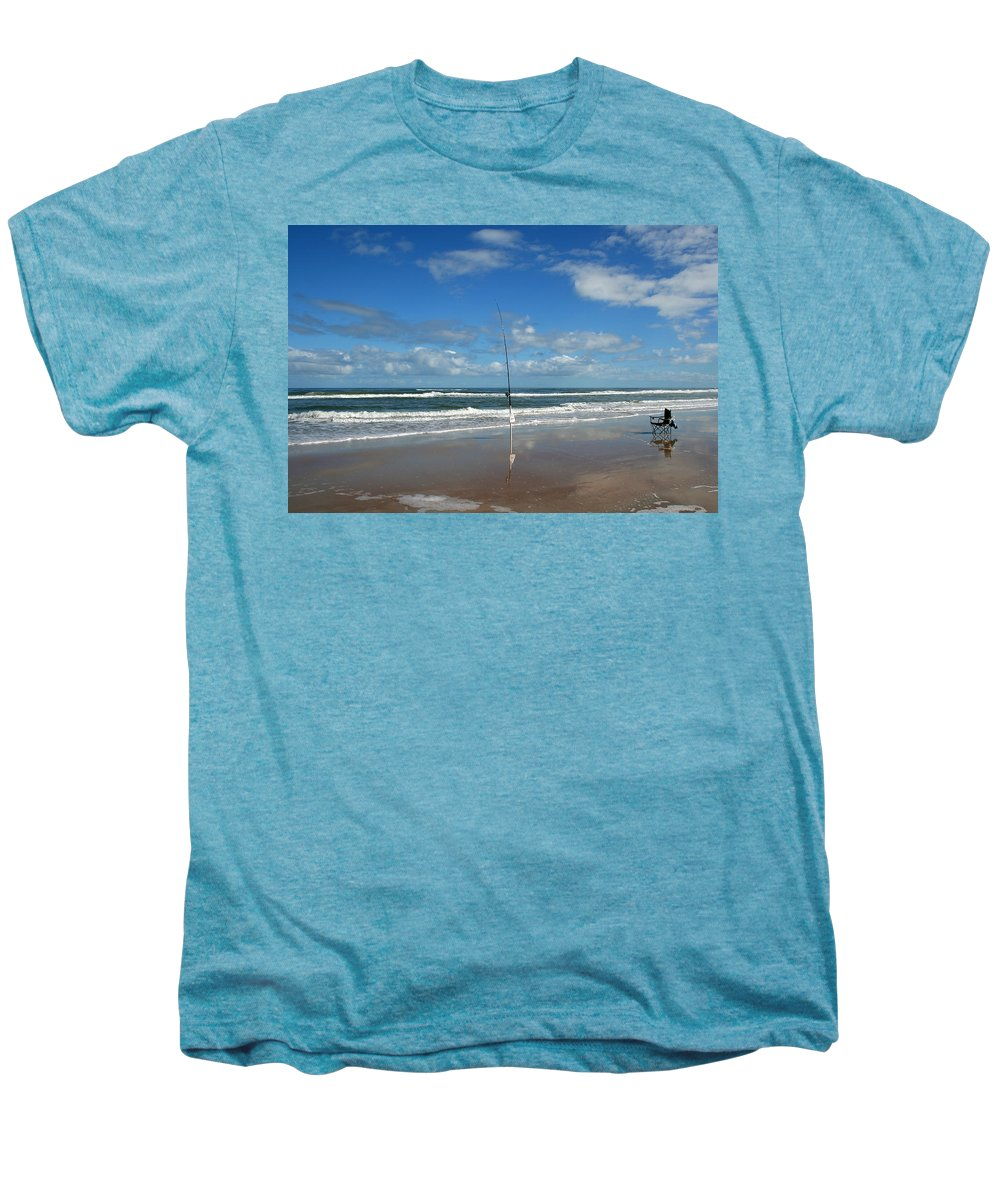 Fish Fishing Vacation Beach Surf Shore Rod Pole Chair Blue Sky Ocean Waves Wave Sun Sunny Bright Men's Premium T-Shirt featuring the photograph You Could Have Been There by Andrei Shliakhau