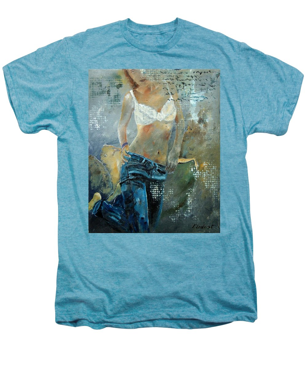 Girl Men's Premium T-Shirt featuring the painting Young Girl In Jeans by Pol Ledent