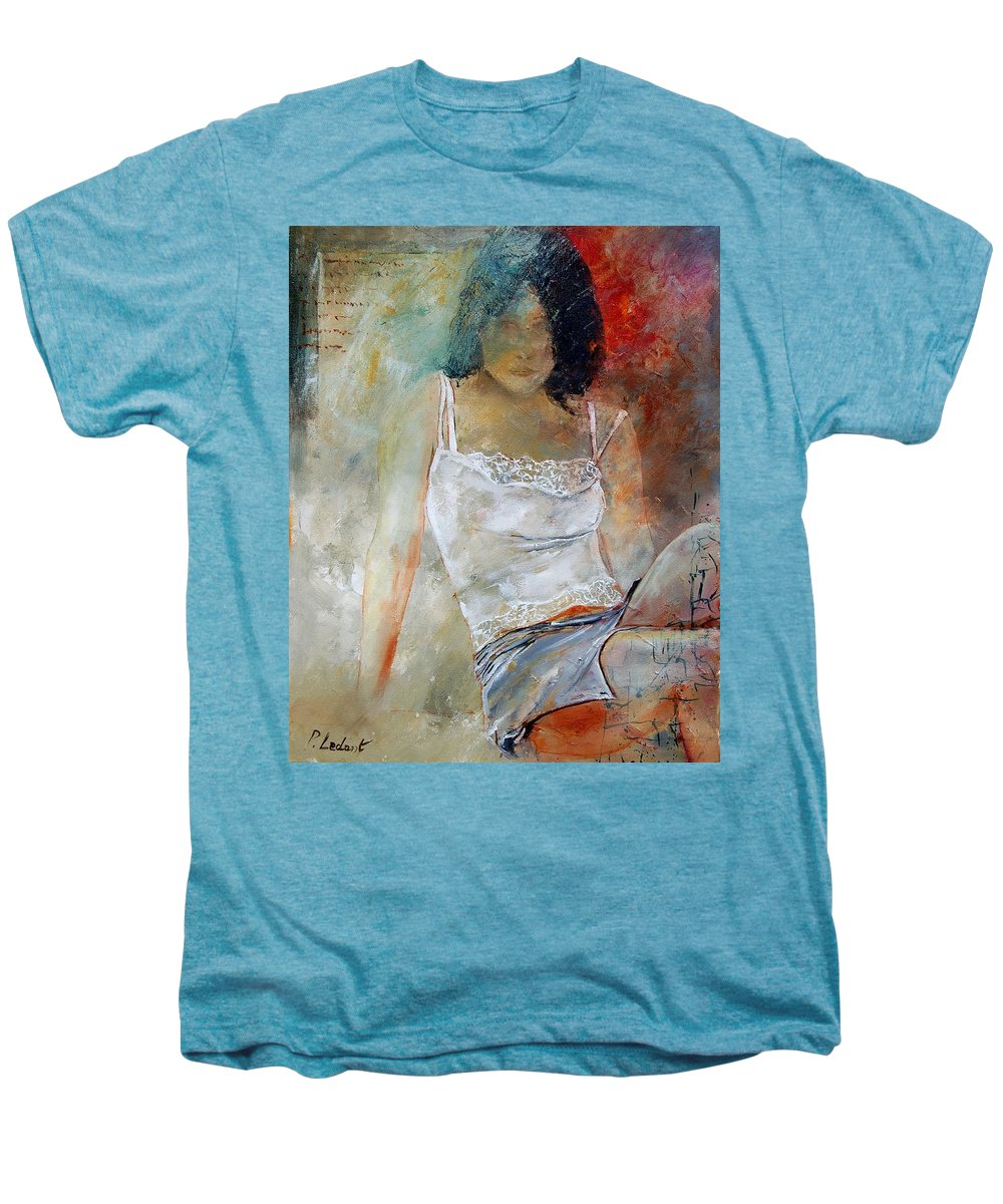 Nude Men's Premium T-Shirt featuring the painting Young Girl Sitting by Pol Ledent