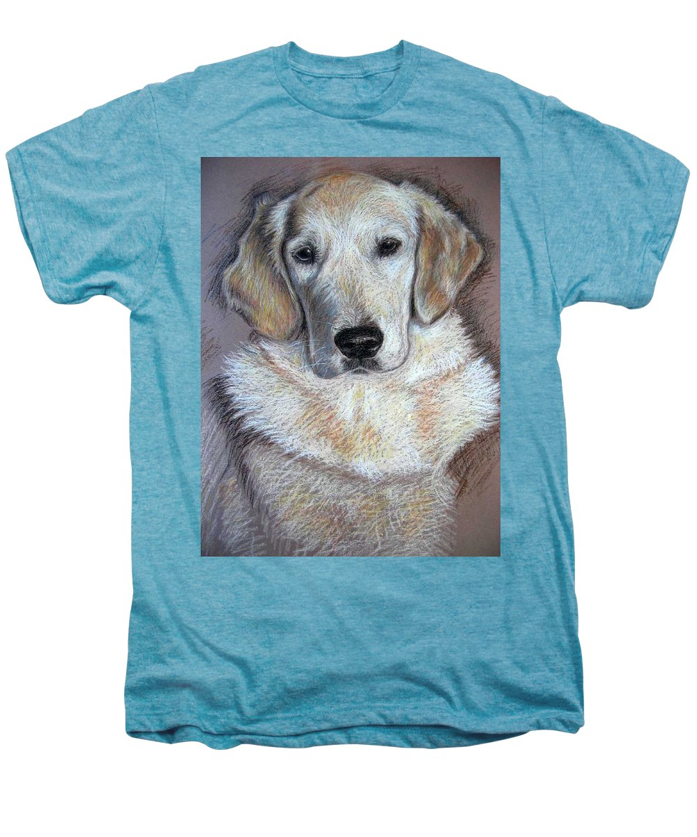 Dog Men's Premium T-Shirt featuring the pastel Young Golden Retriever by Nicole Zeug