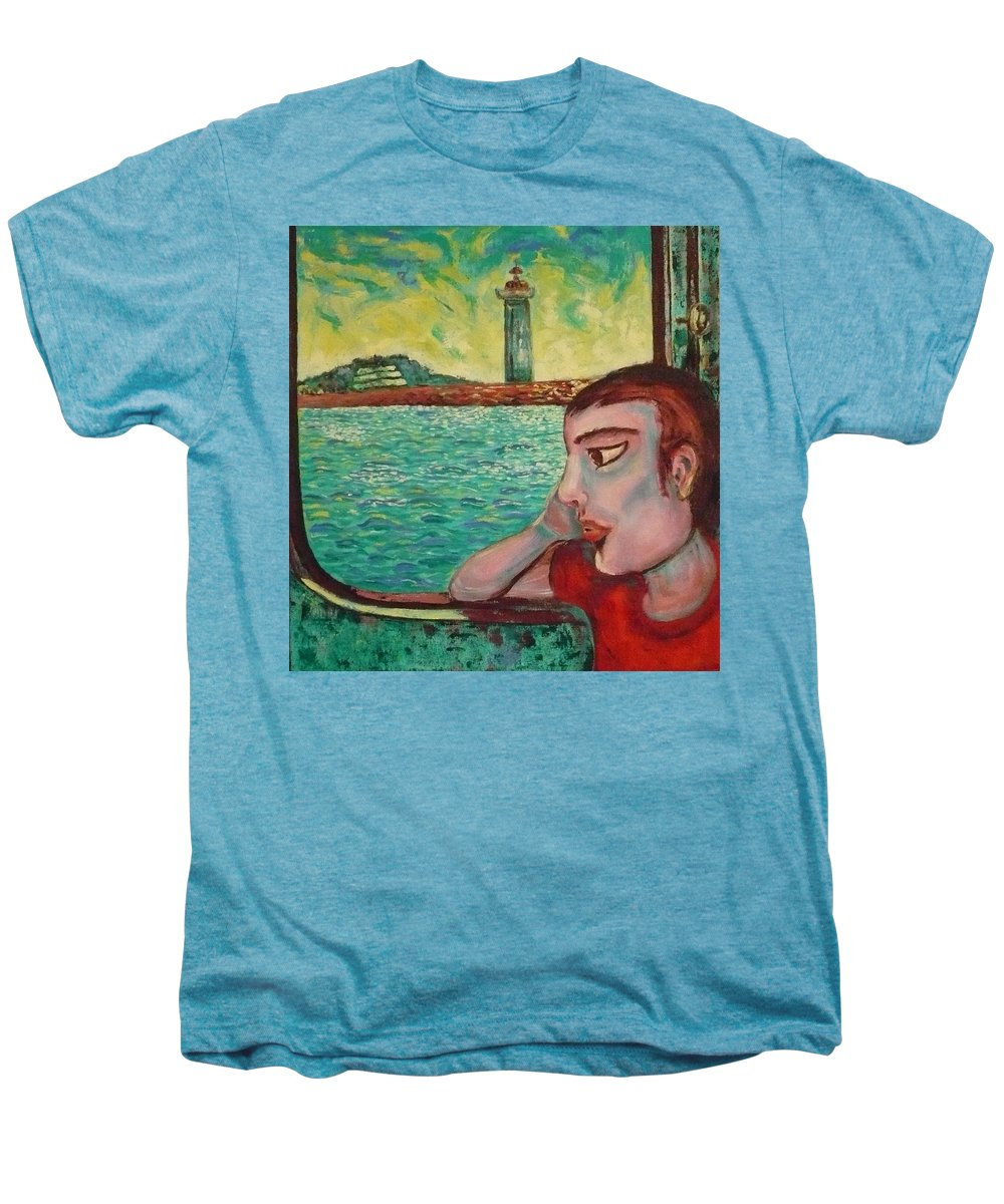 Window Men's Premium T-Shirt featuring the painting Young Man In A Window by Ericka Herazo