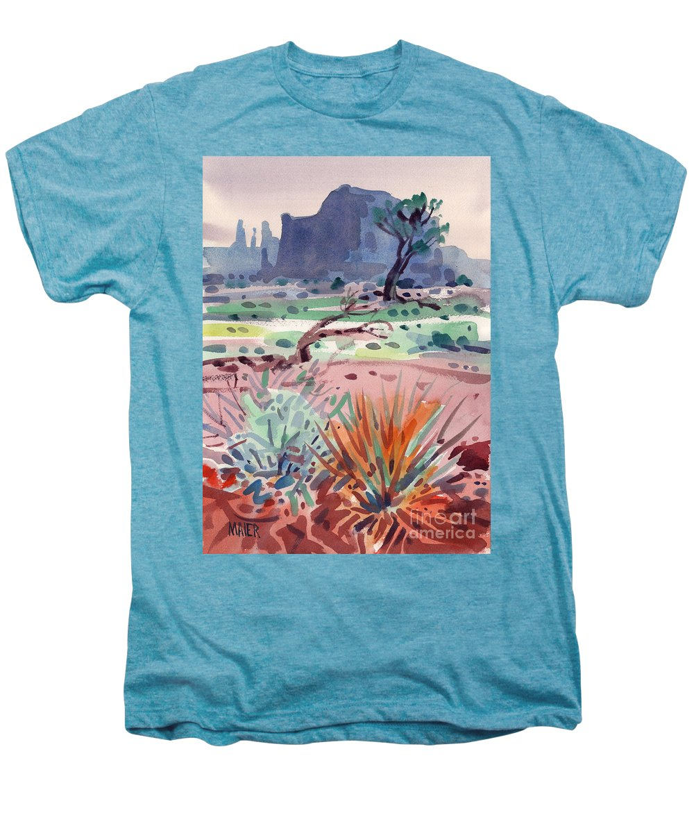 Monument Valley Men's Premium T-Shirt featuring the painting Yucca And Buttes by Donald Maier