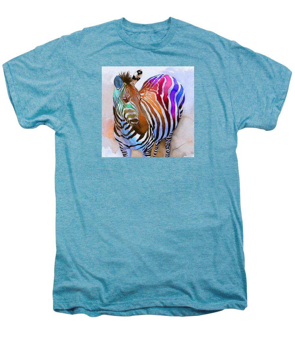 Colorful Men's Premium T-Shirt featuring the painting Zebra Dreams by Galen Hazelhofer