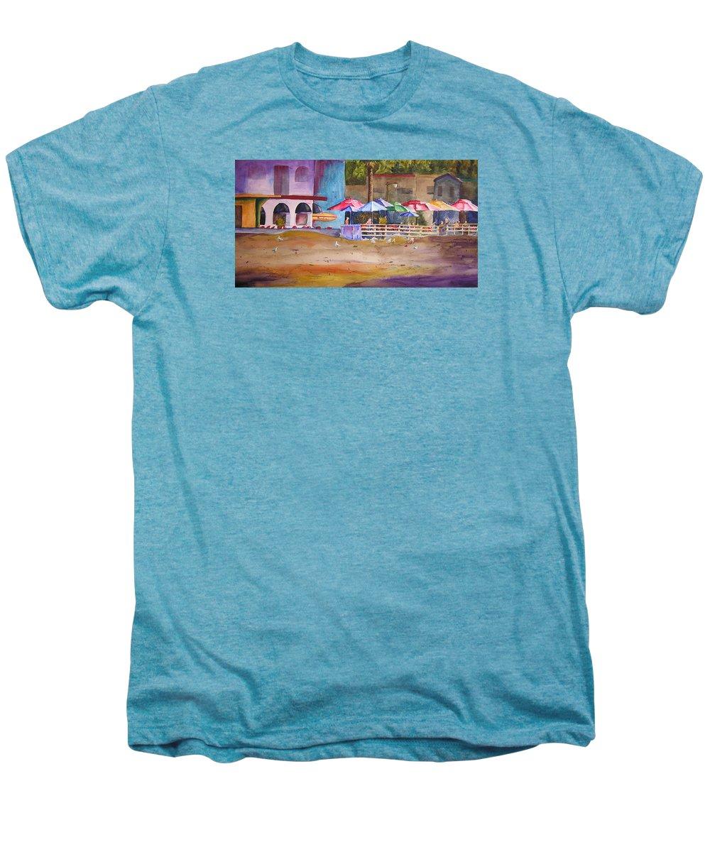 Umbrella Men's Premium T-Shirt featuring the painting Zelda's Umbrellas by Karen Stark